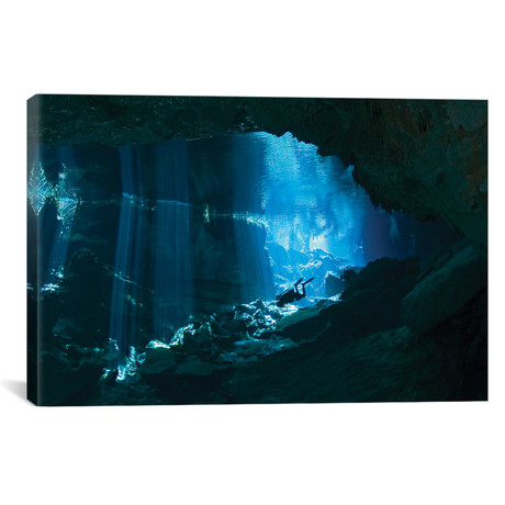 """Diver Enters The Cavern System In The Riviera Maya Area Of Mexico // Karen Doody (18""""W x 12""""H x 0.75""""D)"""
