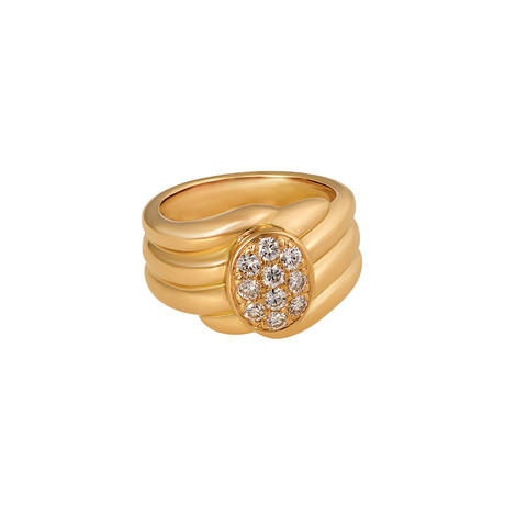 Vintage Van Cleef & Arpels 18k Yellow Gold Diamond Wave Ring // Ring Size: 5.25