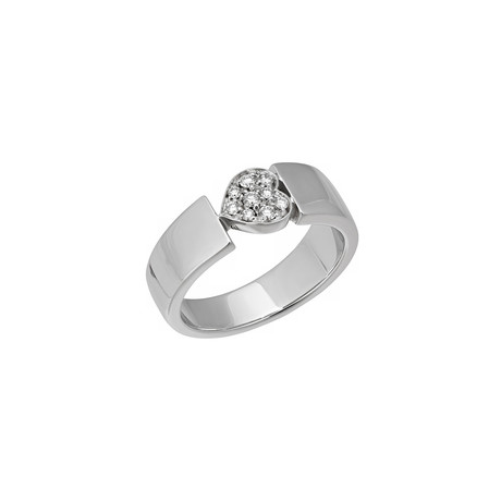 Piaget 18k White Gold Diamond Heart Ring // Ring Size: 6.25 // Pre-Owned