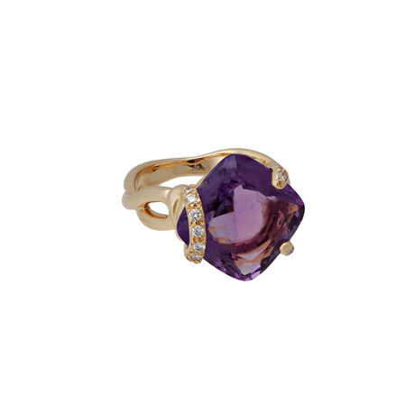 Chanel 18k Yellow Gold Diamond + Amethyst Ring // Ring Size: 6.5 // Pre-Owned