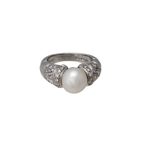 Vintage Bulgari 18k White Gold Pearl Diamond Ring // Ring Size: 5