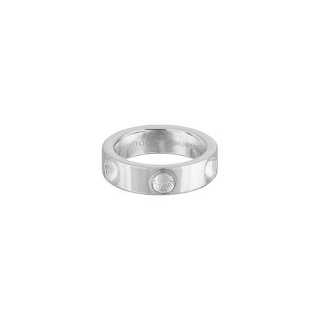 Vintage Louis Vuitton 18k White Gold Empreinte Ring // Ring Size: 4