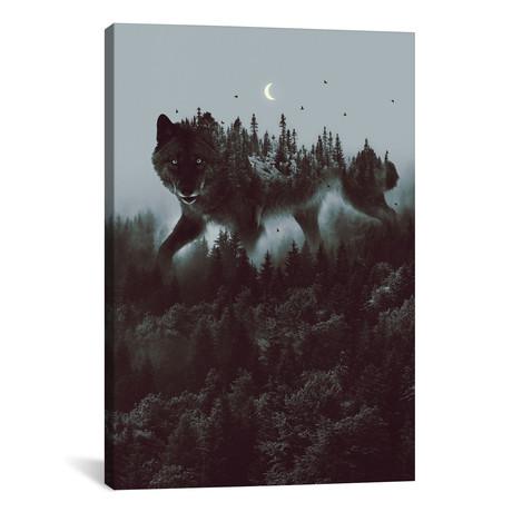 "Noctivagant Black Wolf // Soaring Anchor Designs (26""W x 40""H x 1.5""D)"