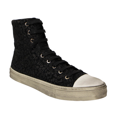 Men's 'Sunset' Vintage Leopard Print High Top Sneakers // Black (US: 6)