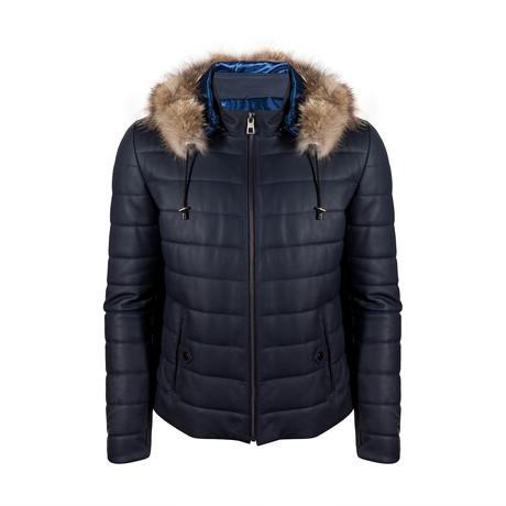 Emirhan Leather Jacket // Navy Blue Tafta (S)
