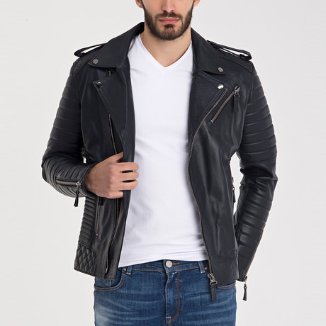 Fraser Leather Jacket // Navy Blue (S)