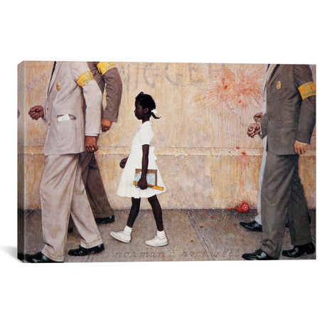"The Problem We All Live With (Ruby Bridges) // Norman Rockwell (26""W x 18""H x 0.75""D)"