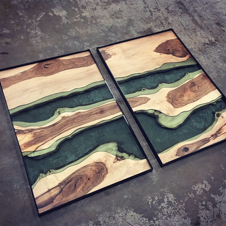 River Series XL Matched Panels // English Walnut + Green Glass