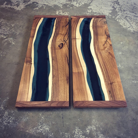 River Series Diptych Panels // English Walnut + Blue Glass