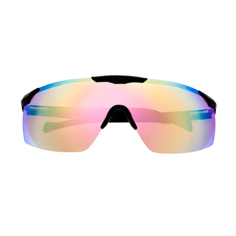 Shore Polarized Sunglasses (Black Frame + Red Rainbow Lens)
