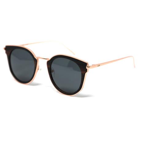 Angelina Polarized Sunglasses // Black + Rose Gold
