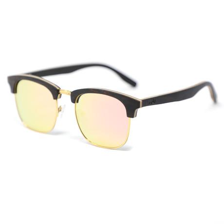 Flagler Polarized Sunglasses // Black + Gold + Rose Gold