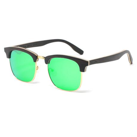 Flagler Polarized Sunglasses // Black + Gold + Green
