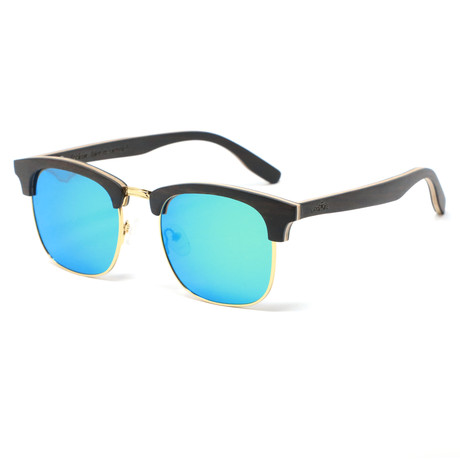 Flagler Polarized Sunglasses // Black + Gold + Blue