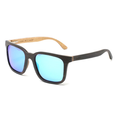 Nixon Polarized Sunglasses // Dark Walnut Brown + Mirror Blue