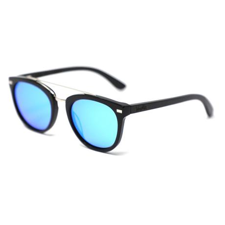 Minorca Polarized Sunglasses // Black + Mirror Blue Lense