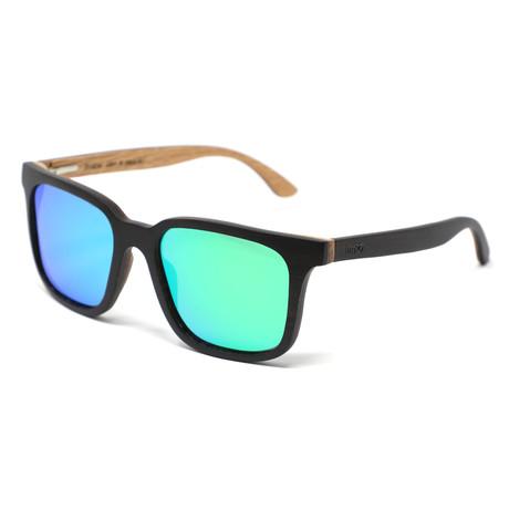 Nixon Polarized Sunglasses // Dark Walnut Brown + Mirror Green
