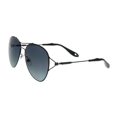 Givenchy // Women's Round Double Bridge Sunglasses // Black + Gray Gradient
