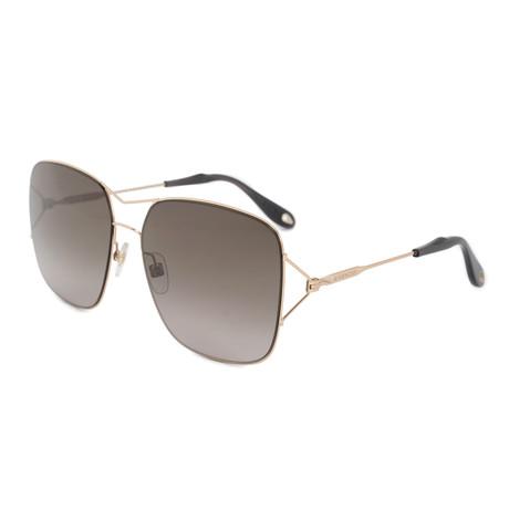 Givenchy // Women's Square Double Bridge Sunglasses // Gold + Brown Gradient