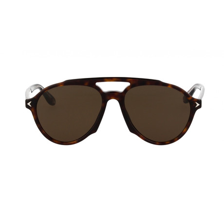 Givenchy // Men's Aviator Sunglasses // Dark Havana + Brown