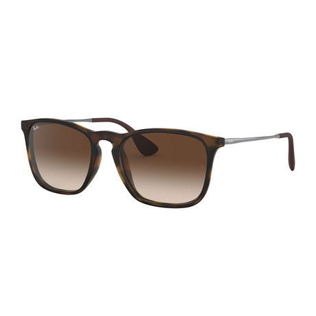 Unisex Rectangular Sunglasses // Tortoise + Brown Gradient