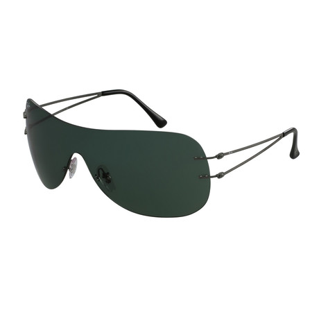 Ray-Ban // Unisex Shield Frame Sunglasses // Gunmetal + Green Classic