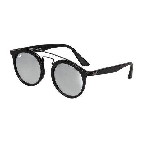 Men's Round Double Bridged Sunglasses // Black + Silver Gradient