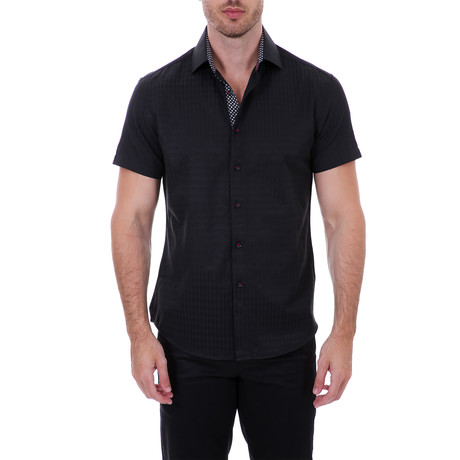 Frank Short-Sleeve Button-Up Shirt // Black (XS)