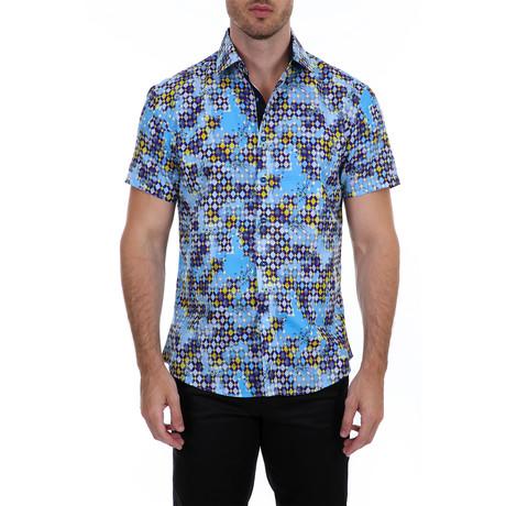 Zechariah Short Sleeve Button-Up Shirt // Light Blue (XS)
