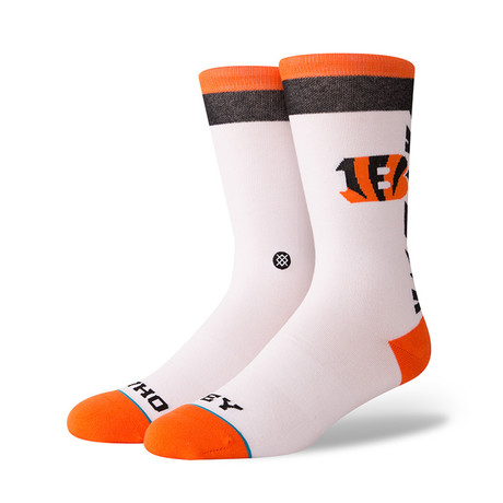Bengals Who Dey Socks // White (M)