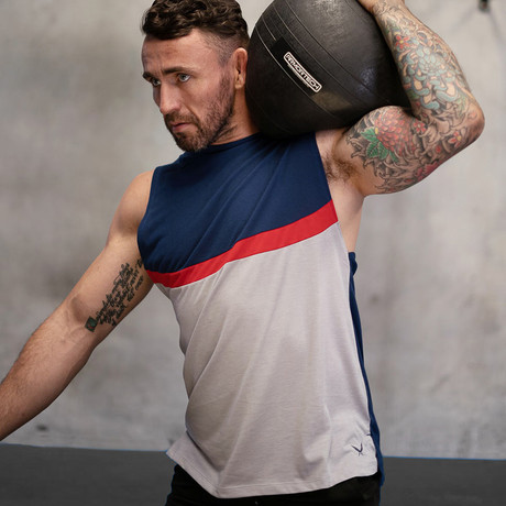 Uppercut Training Muscle Tank // Navy + Gray (XL)