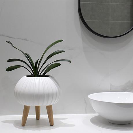 Bloom Ceramic Planter // Matte White