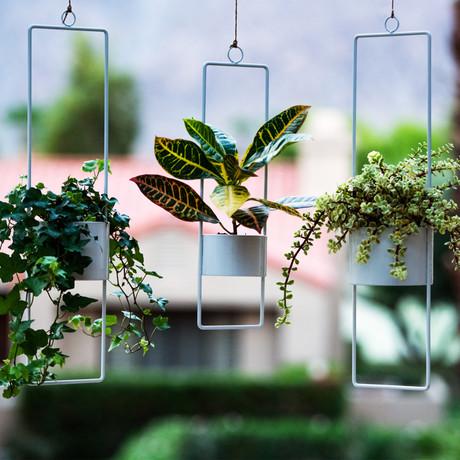 Upright Hanging Planter // Set of 2 // Large (Glossy White)