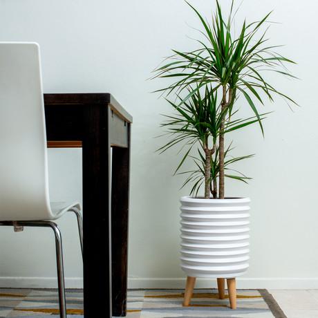 Groove Jr. Ceramic Planter // Matte White
