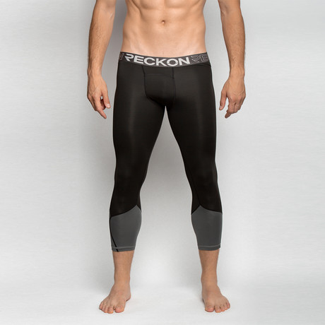 Compression Leggings // Black + Gray (S)
