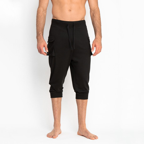 Cropped French Terry Pants + Cargo Pocket // Black (S)