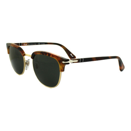 Persol Men's Clubmaster Polarized Sunglasses // Havana+ Gray Polarized