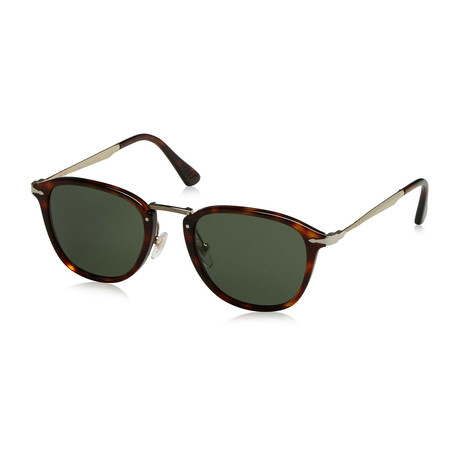 Persol Men's Classic Rectangle Sunglasses // Hanvana Gold+ Green