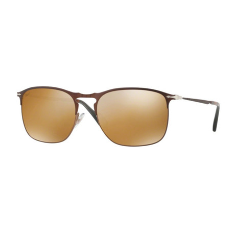 Persol Men's Metal Rectangle Sunglasses // Brown + Gold Mirror Lenses