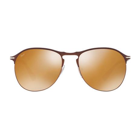 Teardrop Aviator Sunglasses // Brown + Gold Mirror (56mm)