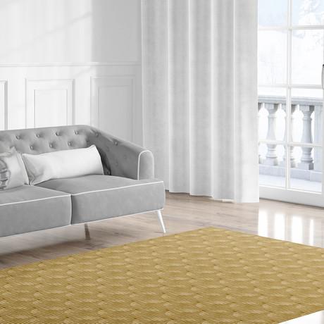 Zen Circles Block Print Gold // Area Rug (2.6'L x 8'W)