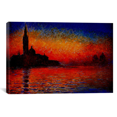 "Sunset in Venice // Claude Monet (40""W x 26""H x 1.5""D)"