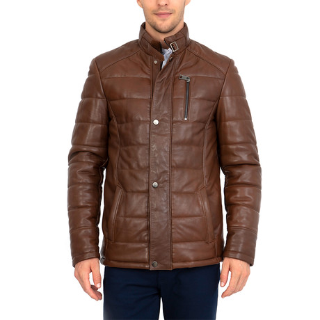 Bump Leather Jacket // Chestnut (S)
