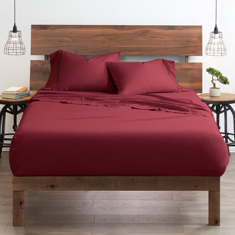 Good Kind Essential 6 Piece Bed Sheet Set // Burgundy (Twin)