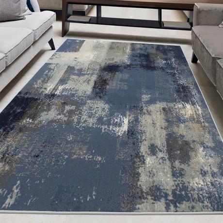 "Mercury // Dark Navy + Slate Blue (5'3""W x 7'3""L)"