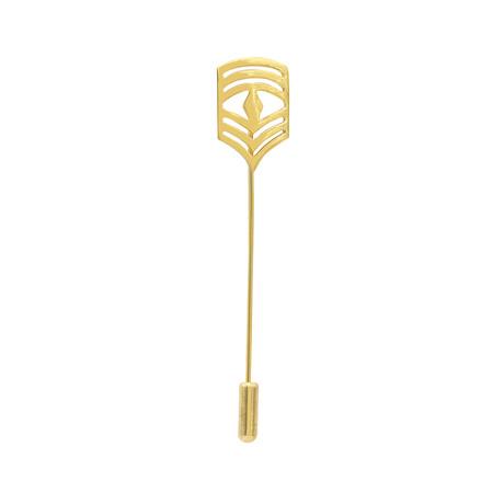 Chevron Badge Lapel Pin // Yellow Gold Plating