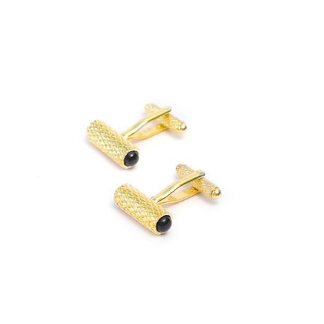 Diamond Details Cufflink Set + Onyx Gemstone (Gold)