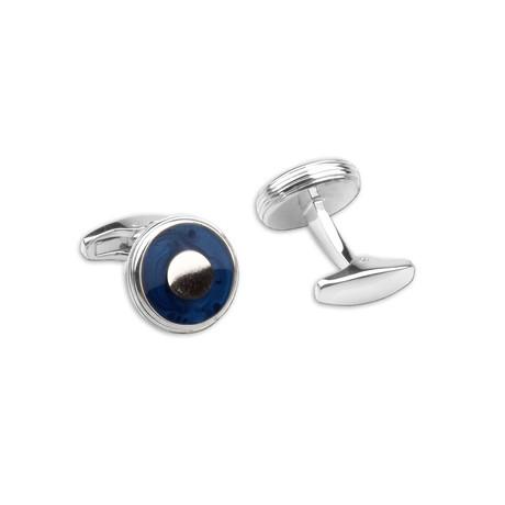 Blue Enamel Inlay Cufflink Set