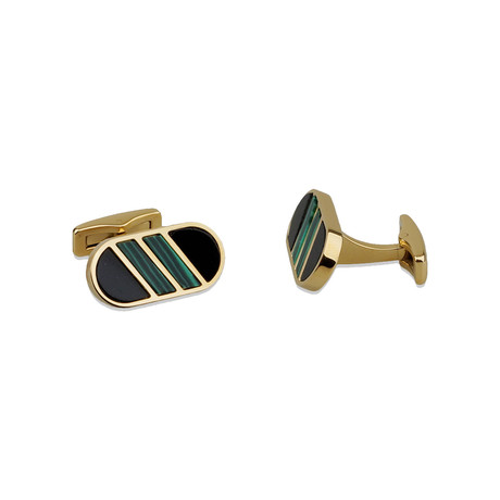 Black Onyx + Malachite Gemstone Inlay Cufflink Set