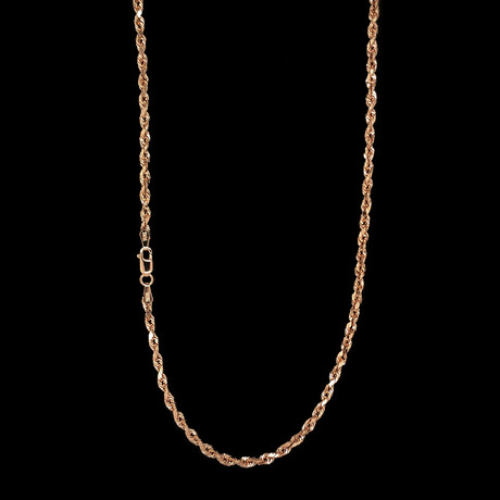 """10K Rose Gold Hollow Rope Chain Necklace // 3mm (16"""")"""